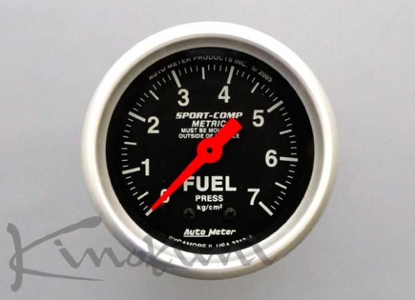 【★送料無料】 【キノクニ】52φ機械式 燃圧計 ブラックパネル(3312-KN、燃圧計/機52φ BP/WS)