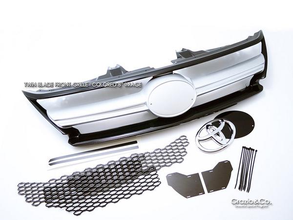 65W 60W ハリアー HARRIER | フロントグリル【グラージオ】Grazio ハリアー 60系 SPORTDESIGN ツインブレード フロントグリル カラードB Sparkling Black(220)