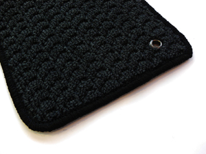 ザ・ビートル | フロアマット【ハルトデザイン】The Beetle フロアーマット(loop・ブラック)前後4セット 左ハンドル マットタイプ:ボタン フチカラー:ゴールド