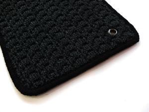 ザ・ビートル | フロアマット【ハルトデザイン】The Beetle フロアーマット(loop・ブラック)前後4セット 右ハンドル マットタイプ:ボタン フチカラー:水色