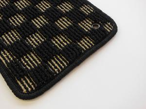 ザ・ビートル | フロアマット【ハルトデザイン】The Beetle フロアーマット(check)前後4セット ブラウン 左ハンドル マットタイプ:ボタン フチカラー:ホワイト