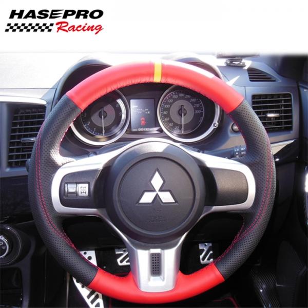【ハセプロ】マジカルカーボンシート ハンドルジャケット リバイバルレザー 本革Ver(センターマークレッド) 三菱2 レッド/ブラック
