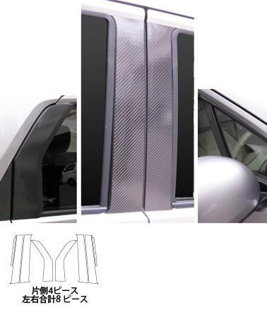ステッカー【ハセプロ】マジカルカーボンシート ホンダ N-ワゴン・カスタム JH1・2(2013.11~) ミドルセット 4P×左右 シルバー