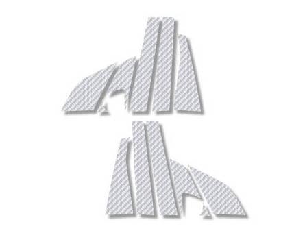 ステッカー【ハセプロ】マジカルカーボンシート ベンツ BクラスB170 W245(2006.1~2012.4) 6P×左右 シルバー