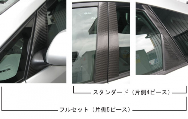 【ハセプロ】マジカルカーボンシート トヨタ プリウスNHW20(2003.9~) ピラー ブラック