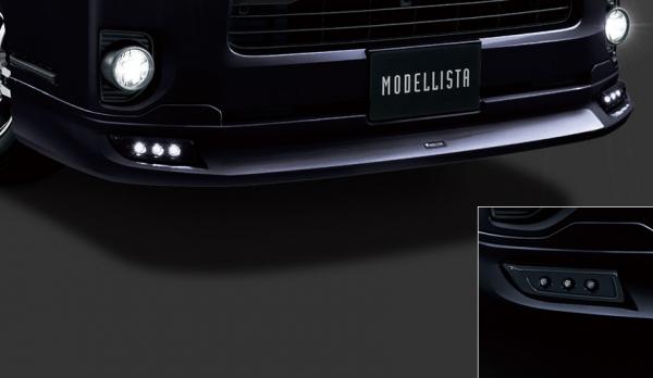 200 ハイエース | エアロセット (その他)【トヨタモデリスタ】ハイエース 200系 4型 スーパーGL DARK PRIME2 標準ボディ MODELLISTA Version 1 クールフェイスキット (デイライト) ブラックマイカ