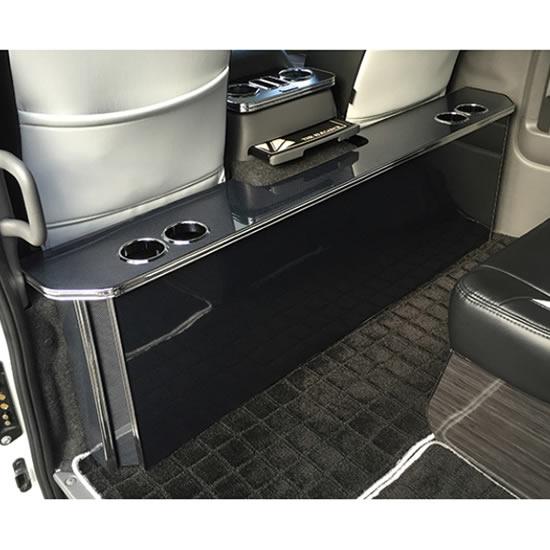 インテリア その他【レガンス】NV350キャラバン E26 パーソナルカウンターテーブル ドリンクホルダー 4個 汎用VOLTAGE+USBポート4.8A付 ブラックバンブー