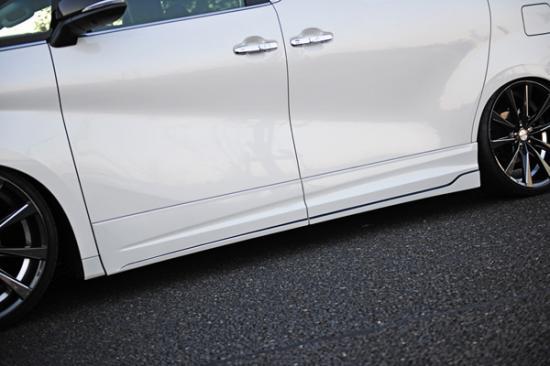 サイドステップ【ノブレッセ】ヴェルファイア 30系 ドアパネル一体式サイドステップ 塗装済 グレーメタリック (1G3)×ブラック (202)