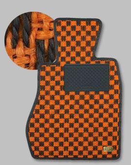 CJ4A ミラージュ | フロアマット【カロ】ミラージュ CJ#A/CM# 3ドア車用 フロアマット シザル オレンジ/ブラック
