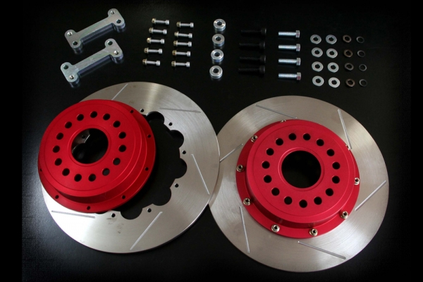 S2000 AP1/2 | ブレーキローター / リア【エムアンドエム ホンダ】S2000 AP1/2 2ピースビッグブレーキローターKIT リアト/リジットタイプ ベルハットアルマイトカラー:レッド (オプションカラー)