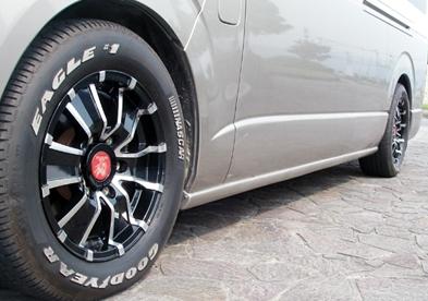 200 ハイエース ワイド | サイドステップ【ギブソン】ハイエース 200系 ワイドボディ 4ドア (片側スライド車) スーパーロング サイドスポイラー 塗装済 (1E2) ダークグレーマイカメタリック