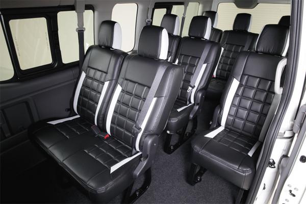 E26 NV350 キャラバン CARAVAN | シートカバー【レガンス】NV350キャラバン E26 ワゴンGX用 (10人乗り) ワッフルシートカバー パティシエ アイボリー×ダークグレーライン