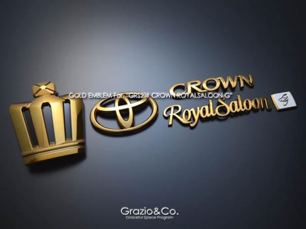 21 クラウン ロイヤル CROWN ROYAL | オーナメント / エンブレム【グラージオ】クラウンロイヤル 21系 リヤ3点セット G ブラック クロ-ム