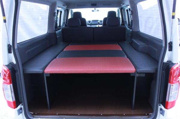E26 NV350 キャラバン CARAVAN | ベットキット【ネル海】NV350キャラバン プレミアムGX 車中泊 ベッドキット 6枚式 波道-14 ブラウン