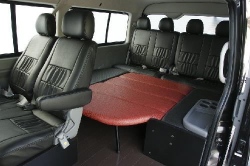 200 ハイエース ワイド | ベットキット【ネル海】ハイエース 200系 ワゴン ワイドボディ GL 10人乗り (H24年6月以前) 車中泊 ベッドキット 6枚式 波道-13&床板パネル(スーパーダーク)セット マットカラー:ブラック