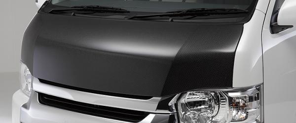 200 ハイエース ワイド | ボンネット ( フード )【ボクシースタイル】ハイエース 200系 ワイドボディ CARBONTEC ユーロカーボンボンネット カーボン製 クリア塗装済