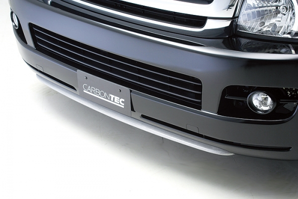 200 ハイエース ワイド | フロントリップ【ボクシースタイル】ハイエース 200系 ワイドボディ CARBONTEC フロントバンパーエクステ カーボン製 クリア塗装済 1/2型用