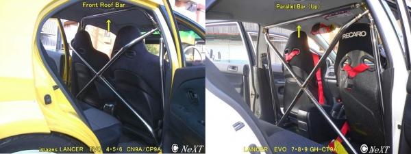 R33 GT-R | 補強パーツ / 室内【ネクスト】スカイライン GT-R R33 ミラクルクロスバー用アップグレードキット 35Ф フロントルーフバー