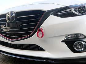 BM アクセラ | 牽引フック【オクヤマ】アクセラスポーツ BM2FS フリップアップトーイングフック フロント カラー:レッド