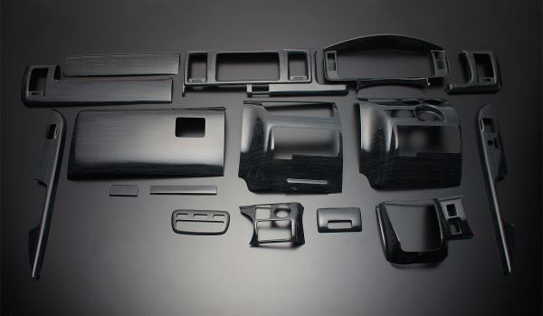 200 ハイエース 標準ボディ | インテリアパネル【フェガーリ】【送料無料!!】ハイエース 200系 4型/5型 S-GL 標準ボディ ハイグレード インテリアパネル 16ピース 黒木目 Ver.3