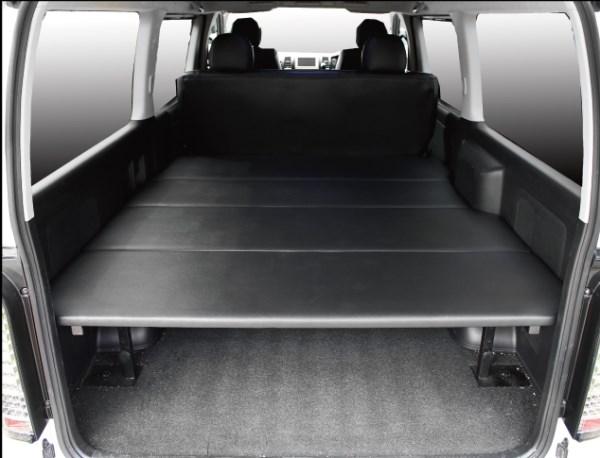 200 ハイエース 標準ボディ   ベットキット【フェガーリ】ハイエース 200系 1-5型 DX 標準ボディ 5ドア リアヒーター無車 ベッドキット ブラックレザー