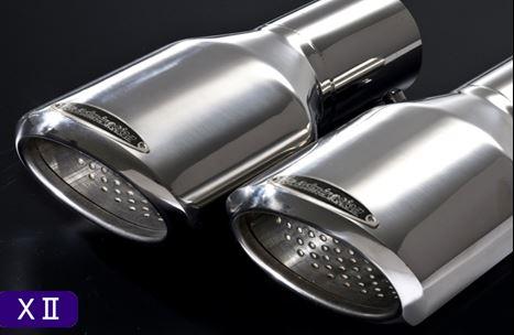 ACR50/55 GSR50/55 | ステンマフラー【アドミレイション】エスティマ GSR/ACR50・55 後期 エグゼティブマフラー デポルテ用 左右4本出し用 Xllテール (テールスライド式) 【約5cm】 :プレートカラーブラック