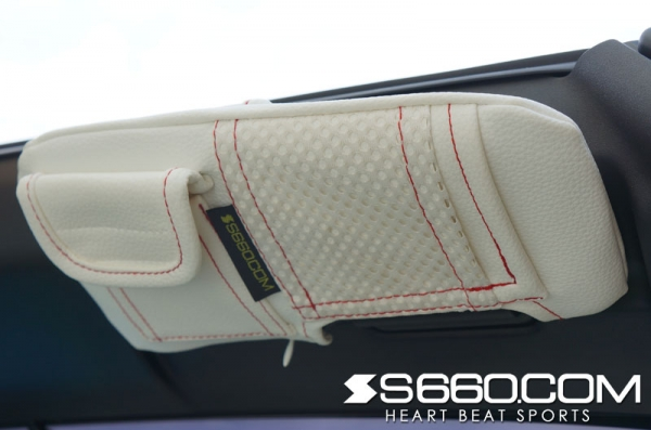 S660   内装パーツ / その他【S660コム】S660 スパイダー サンバイザーカバー ポケット付 / 生地 グレー / ステッチ レッド / バニティミラー片側付