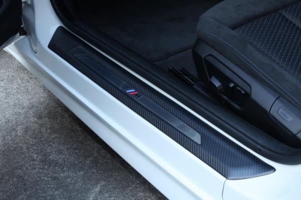 BMW 4 Series F32/F33   スカッフプレート【アールエスダブリュ】BMW F32/F33/F36 ドア シル プレートパネル 左右セット 綾織ブラックカーボン製 マット塗装済