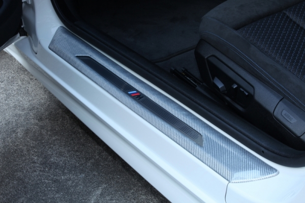 BMW 4 Series F32/F33   スカッフプレート【アールエスダブリュ】BMW F32/F33/F36 ドア シル プレートパネル 左右セット シルバーカーボン製 デュポンクリア塗装済