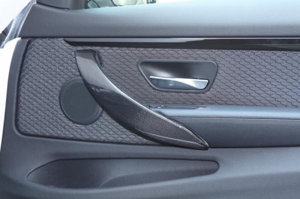 BMW 4 Series F32/F33 | インテリアパネル【アールエスダブリュ】BMW 4シリーズ(F32/F33/F36)用 ドアハンドルパネル(左右セット) 平織ブラックカーボン製 (デュポンクリア塗装仕上げ)