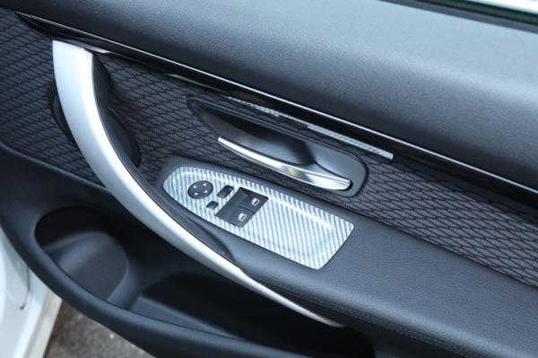 BMW 4 Series F32/F33 | インテリアパネル【アールエスダブリュ】BMW 4シリーズ(F32/F33/F36)用 ウィンドゥスイッチパネル(左右セット) シルバーカーボン製 (デュポンクリア塗装仕上げ)