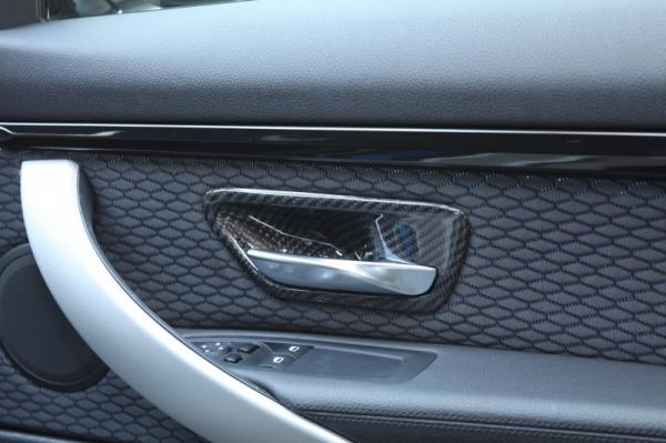 BMW 3 Series F30/F31/F34 | インテリアパネル【アールエスダブリュ】BMW 3シリーズ(F30/F31/F34)用 ドアインナーオープナーパネル(左右セット) 綾織ブラックカーボン製 (デュポンクリア塗装仕上げ)Bパターン