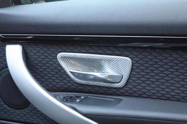 BMW 3 Series F30/F31/F34 | インテリアパネル【アールエスダブリュ】BMW 3シリーズ(F30/F31/F34)用 ドアインナーオープナーパネル(左右セット) シルバーカーボン製 (デュポンクリア塗装仕上げ)Bパターン
