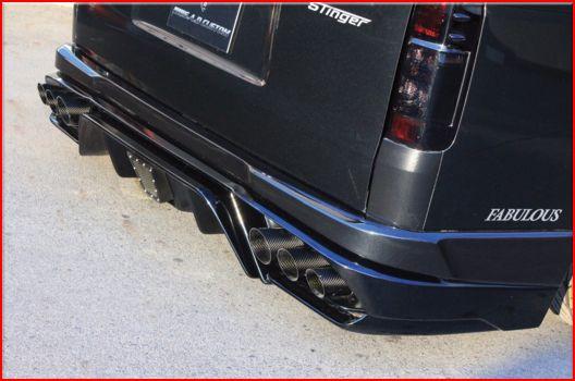 200 ハイエース ワイド | リアバンパー【スティンガー】ハイエース 200系 4型 ワイドボディ リアバンパー カーボンマフラー無し