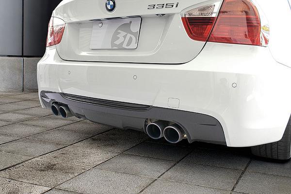 BMW 3 Series E90 | リアアンダー / ディフューザー【3D デザイン】BMW E90 M-Sport 3 Series 335i用 リアディフューザー カーボン マフラー4本出し
