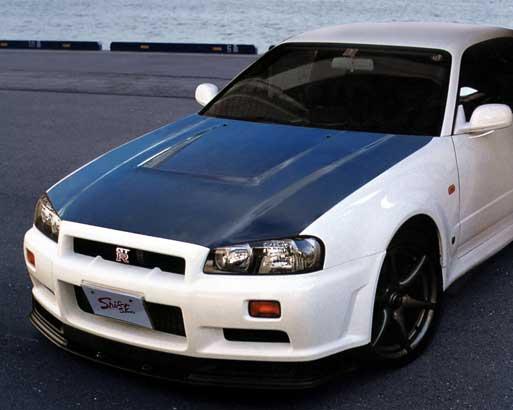 R34 GT-R | ボンネット ( フード )【シフトスポーツ】スカイラインGT-R BNR34 エアロボンネット CARBON
