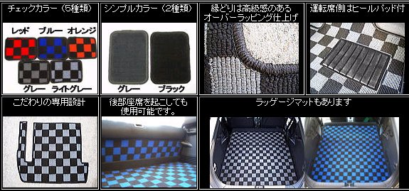CR-Z | フロアマット【バックヤード】CR-Z ラッゲージマット 2Pセット チェック カラー:レッド