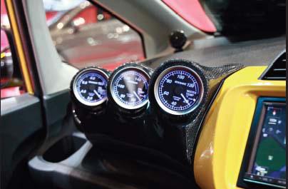 GE6-9 フィット | インテリアパネル【タケローズ】フィット ワイド 追加3連メーターフード カーボン