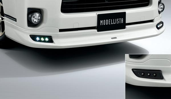 200 ハイエース | フロントハーフ【トヨタモデリスタ】ハイエース 200系 標準ボディ (2013/11~) MODELLISTA VersionI フロントスポイラー デイライト付 素地