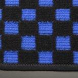 【テイクオフ】アルトワークス/アルトRS(HA36S) フロアマット チェッカーブルー/オーバーロックカラー・ブルー 運転席ヒールパッド有 ボタンタイプ(センター/ドア側) -