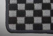 【テイクオフ】CARA フロアマット 運転席側 ヒールパッド:無 チェッカーグレー オーバーロックカラー:ブラック -