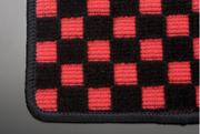 L700/710 ミラジーノ   フロアマット【テイクオフ】L700/710 ミラジーノ フロアマット 運転席側 ヒールパッド:無 チェッカーレッド オーバーロックカラー:ブラック