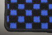 MG21 モコ | フロアマット【テイクオフ】MG21 モコ フロアマット 運転席側 ヒールパッド:無 チェッカーブルー オーバーロックカラー:ブラック
