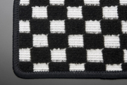 MG21 モコ | フロアマット【テイクオフ】MG21 モコ フロアマット 運転席側 ヒールパッド:無 チェッカーホワイト オーバーロックカラー:ブラック