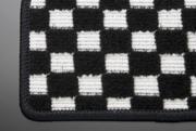 MG21 モコ   フロアマット【テイクオフ】MG21 モコ フロアマット 運転席側 ヒールパッド:有 チェッカーホワイト オーバーロックカラー:ブラック