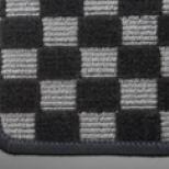 アルト HA36S/36V型   フロアマット【テイクオフ】アルトワークス/アルトRS(HA36S) フロアマット  チェッカーグレー/オーバーロックカラー・ブルー 運転席ヒールパッド無 ボタンタイプ(センター/ドア側)