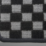 アルト HA36S/36V型   フロアマット【テイクオフ】アルトワークス/アルトRS(HA36S) フロアマット  チェッカーグレー/オーバーロックカラー・ブルー 運転席ヒールパッド有 ボタンタイプ(センター/ドア側)