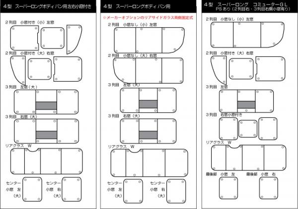 ブラインドシェード【ユーアイ】ハイエース 200系 遮光パッド リア7面 4型 コミューターDX(2nd右+3rd右小窓付き)