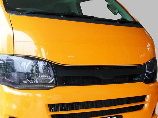 200 ハイエース | ボンネットリップ / フードトップモール【ワールド】ハイエース 200系 標準ボディ 1-3型 E-STYLEフードトップエクステンション ホワイト(058)メーカー塗装済
