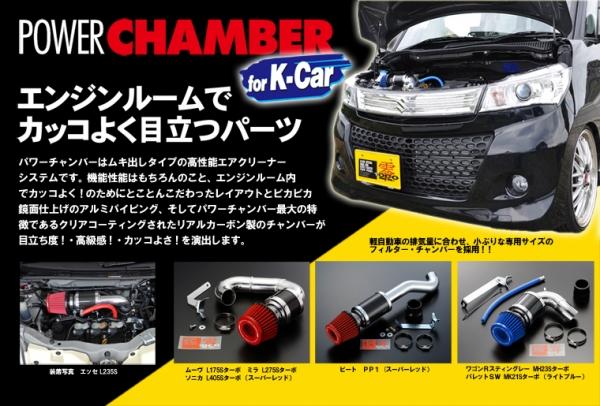 【ゼロ1000】パワーチャンバーKカー ムーヴL150S NA (ブルー)